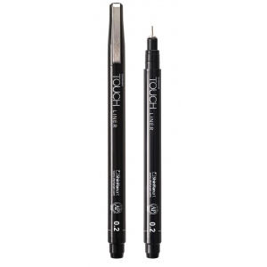 ShinHan Art TOUCH 0.2 Liner: Black/Gray, Black/Gray, Pigment, .2mm, Technical, (model 4110002), price per each