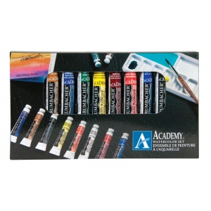 Grumbacher® Academy® Watercolor Paint 10-Color Set: Multi, Tube, 7.5 ml, Watercolor, (model GBA2010SET), price per set
