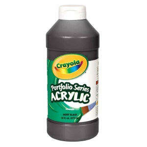 Crayola® Portfolio Series Acrylic Paint Ivory Black: Black/Gray, Bottle, 16 oz, Acrylic, (model BAS250), price per each