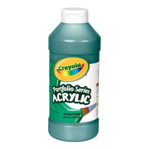 Crayola® Portfolio Series Acrylic Paint Phthalo Green: Green, Bottle, 16 oz, Acrylic