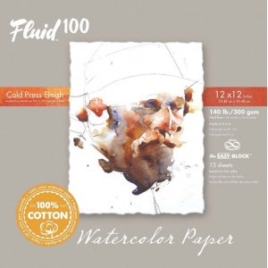 "Global Art Materials™ Fluid 100 Cold Press 140 lb. Watercolor Paper 12""x12"": 15, 12"" x 12"", Cold Press, 140 lb, (model 811224), price per 15 pad"
