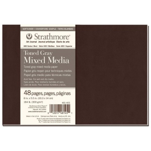 "Strathmore® 400 Series Strathmore® 400 Series Toned Mixed Media Gray Art Journal 8"" x 5.5"": Pad, 500, 8"" x 5.5"", Mixed Media, 184 lb, (model ST481-405), price per each"