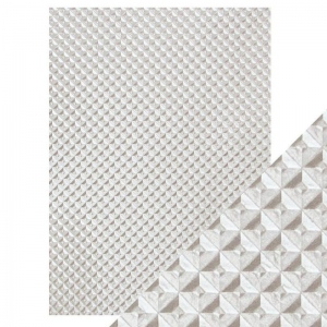Craft Perfect Silver Chequer - Hand Crafted Embossed Cotton Paper- A4 - 150 gms/55 lbs -  9814e