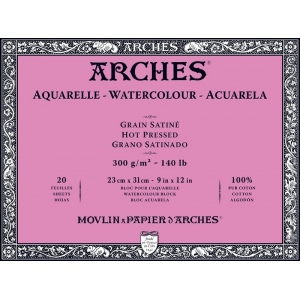 "Arches 9"" x 12"" 140 lb./300g Hot Press Watercolor Block 20 Sheets Natural White"