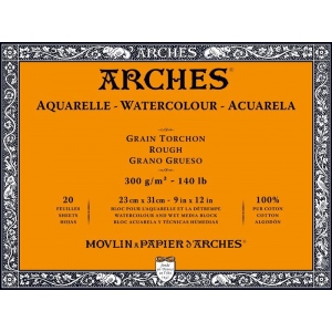 "Arches 9"" x 12"" 140 lb./300g Rough Watercolor Block 20 Sheets Natural White"