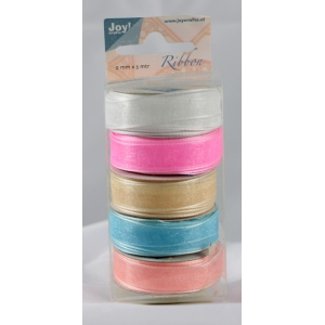 Ecstasy Crafts Organza 9Mm Ribbon -Box Of 5 -Pastel Colours