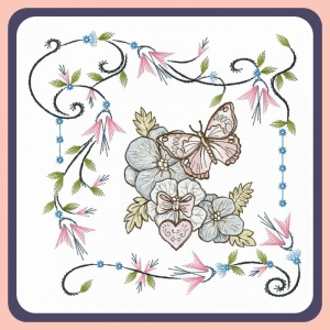 Karin's Creations Embroidery Patterns Embroidery Pattern - Flower Frame