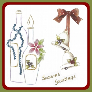 Karin's Creations Embroidery Patterns Embroidery Pattern  - Wine Bottles