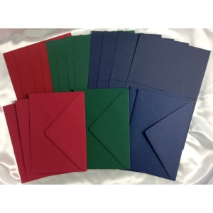Ecstasy Crafts Romak Card Pack - Red/green/blue Cards & Envelopes