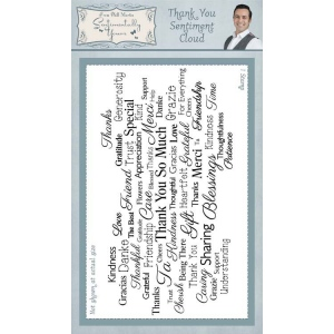 "Creative Expressions Sentimentally Yours Thank You Sentiment Cloud 4"" X 8"" Rubber Stamp"