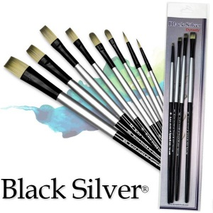 Dynasty® Black Silver® Blended Synthetic Oil/Acrylic Brush Flat