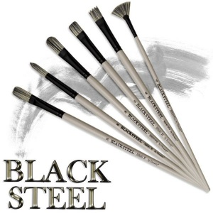 Dynasty® Black Steel Synthetic Oil/Acrylic Brush Flat