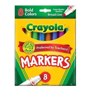Crayola® Broad Line Bold 8-Color Marker Set: Multi, Broad Nib, (model 58-7732), price per pack