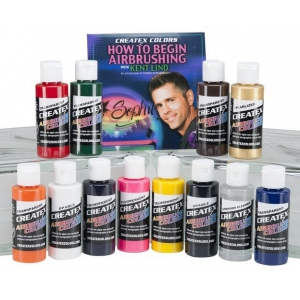 Createx™ Airbrush Primary 12-Color Set with DVD: Multi, Bottle, 2 oz, Airbrush