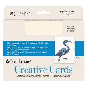 "5 x 6.875 Ivory/Deckle Creative Cards 10-Pack: White/Ivory, Envelope Included, Card, 10 Cards, 5"" x 6 7/8"", 80 lb, (model ST105-130), price per 10 Cards"