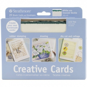 Strathmore 5 x 6.875 White/Emerald Deckle Creative Cards 20-Pack