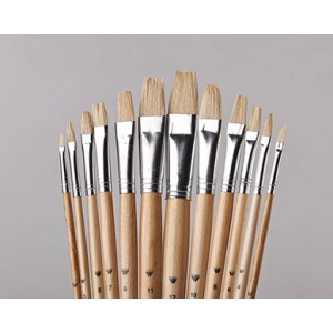 Belle Arte Uno White Bristle: Flat Brush