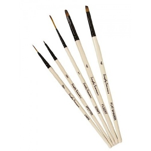 Daler-Rowney Simply Simmons Devilish Detail 5-Brush Set: Synthetic Bristle, Acrylic, (model SS255500003), price per set