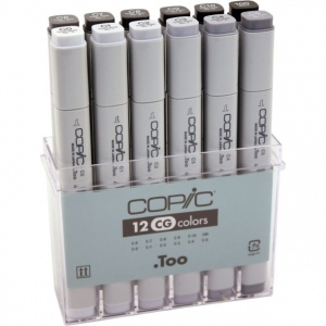 Copic® Original Set Cool Gray Marker: Black/Gray, Double-Ended, Alcohol-Based, Refillable, Broad Nib, Fine Nib, (model CCG12), price per set