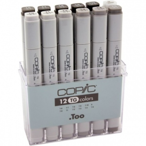 Copic® Original Set Toner Gray Marker: Black/Gray, Double-Ended, Alcohol-Based, Refillable, Broad Nib, Fine Nib, (model CTG12), price per set