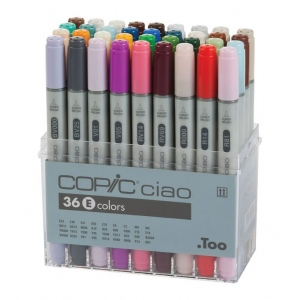 Copic® Ciao Ciao 36-Marker Set E: Multi, Double-Ended, Alcohol-Based, Refillable, Broad Nib, Fine Nib, (model I36E), price per set