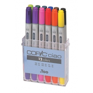 Copic® Ciao Set Basic Marker: Multi, Double-Ended, Alcohol-Based, Refillable, Broad Nib, Fine Nib, (model IB12), price per set