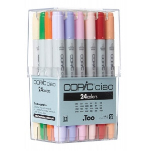 Copic® Ciao Ciao 24-Marker Set Basic: Multi, Double-Ended, Alcohol-Based, Refillable, Broad Nib, Fine Nib, (model IB24), price per set