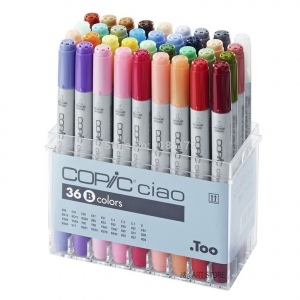 Copic® Ciao Ciao 36-Marker Set B: Multi, Double-Ended, Alcohol-Based, Refillable, Broad Nib, Fine Nib, (model I36B), price per set