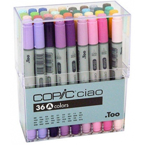 Copic® Ciao Ciao 36-Marker Set A: Multi, Double-Ended, Alcohol-Based, Refillable, Broad Nib, Fine Nib, (model I36A), price per set