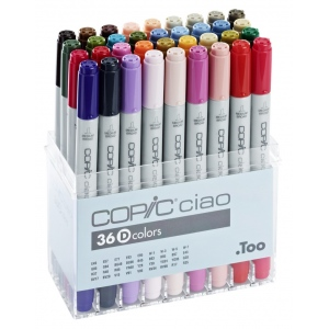 Copic® Ciao Ciao 36-Marker Set D: Multi, Double-Ended, Alcohol-Based, Refillable, Broad Nib, Fine Nib