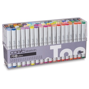 Copic® Original 72 Marker Set A: Multi, Double-Ended, Alcohol-Based, Refillable, Broad Nib, Fine Nib, (model C72A), price per set