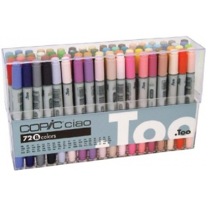 Copic® Original Set 72 Marker Set B: Multi, Double-Ended, Alcohol-Based, Refillable, Broad Nib, Fine Nib