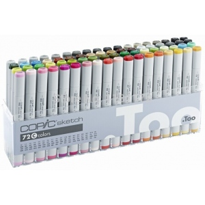 Copic® Original Set 72 Marker Set C: Multi, Double-Ended, Alcohol-Based, Refillable, Broad Nib, Fine Nib