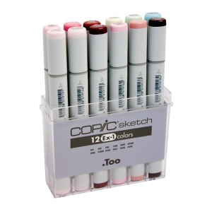 Copic® Sketch 12-Color Marker Set EX-1: Multi, Double-Ended, Alcohol-Based, Refillable, Broad Nib, Brush Nib, (model S12EX-1), price per set