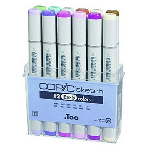 Copic® Sketch 12-Color Marker Set EX-5: Multi, Double-Ended, Alcohol-Based, Refillable, Broad Nib, Brush Nib, (model S12EX-5), price per set