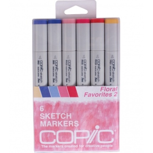 Copic® Sketch 6-Color Floral 2 Marker Set: Multi, Double-Ended, Alcohol-Based, Refillable, Broad Nib, Brush Nib, (model SFLORAL2), price per set