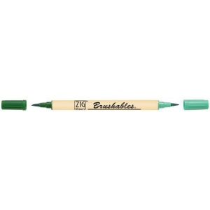 Zig®  Brushables® Marker Pure Green: Green, Double-Ended, Water-Based, Brush Nib, (model MS-7700-040), price per each