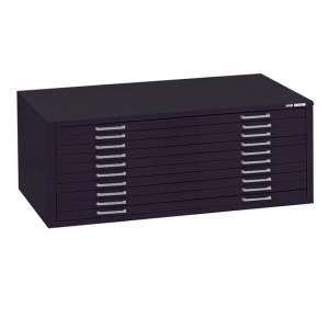 "Mayline® 10-Drawer C-File Black: 1000 Sheets, Black/Gray, Steel, 10-Drawer, 41 3/8""d x 53 3/4""w x 15 3/8""h, (model 7979CB), price per each"