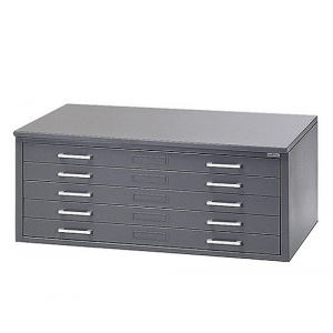 "Mayline® 5-Drawer C-File Gray: 1000 Sheets, Black/Gray, Steel, 5-Drawer, 41 3/8""d x 53 3/4""w x 15 3/8""h, (model 7869CG), price per each"