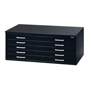 "Mayline® 5-Drawer C-File Black: 1000 Sheets, Black/Gray, Steel, 5-Drawer, 28 3/8""d x 40 3/4""w x 15 3/8""h"