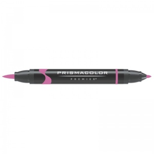Prismacolor® Premier Brush Marker Neon Pink: Red/Pink, Double-Ended, Alcohol-Based, Dye-Based, Brush Nib, Fine Nib, (model PB177), price per each