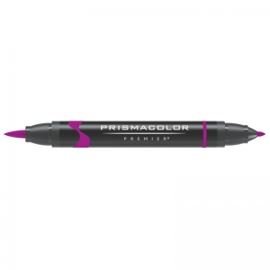 Prismacolor® Premier Brush Marker Rhodamine Dark: Red/Pink, Double-Ended, Alcohol-Based, Dye-Based, Brush Nib, Fine Nib, (model PB056), price per each