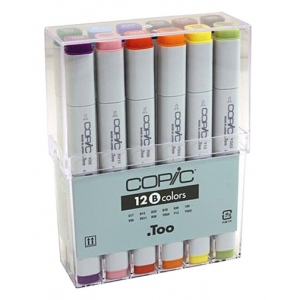Copic® Original 12 Marker Set Basic: Multi, Double-Ended, Alcohol-Based, Refillable, Broad Nib, Fine Nib, (model CB12), price per set