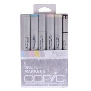 Copic® Sketch 6-Color Floral 1 Marker Set: Multi, Double-Ended, Alcohol-Based, Refillable, Broad Nib, Brush Nib, (model SFLORAL1), price per set
