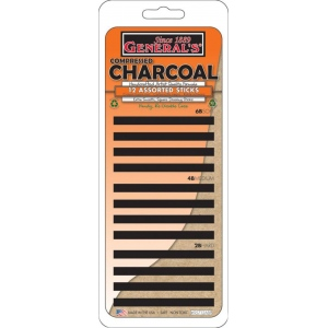 General's® Compressed Charcoal Stick Set: Black/Gray, 2B, 4B, 6B, Stick, Compressed, (model 95712ABP), price per set