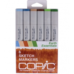 Copic® Sketch 6-Color Earth Essentials Marker Set: Multi, Double-Ended, Alcohol-Based, Refillable, Broad Nib, Brush Nib, (model SEARTH), price per set
