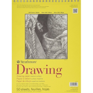 "Strathmore® 300 Series 11"" x 14"" Wire Bound Drawing Pad 50 Sheets: Wire Bound, White/Ivory, Pad, 50 Sheets, 11"" x 14"", Medium, 70 lb, (model ST340-11), price per 50 Sheets pad"
