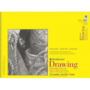 "Strathmore® 300 Series 18"" x 24"" Wire Bound Drawing Pad 25 Sheets: Wire Bound, White/Ivory, Pad, 25 Sheets, 18"" x 24"", Medium, 70 lb, (model ST340-318), price per 25 Sheets pad"