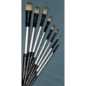 Dynasty® Black Silver® Blended Synthetic Oil/Acrylic Brush Filbert 4: Long Handle, Bristle, Filbert, Acrylic, Oil, (model FM32861), price per each