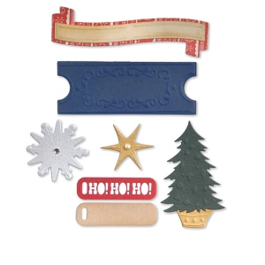 Sizzix - 25th & Pine - Thinlits Die Set 9 Pack - Labels - Santa Sleigh & Snowflakes